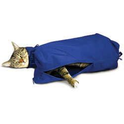 Cat Sack With Full Underside Zip, Large, Blue