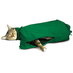 Cat Sack With Full Underside Zip, Small, Green