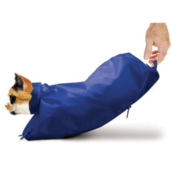 Cat Sack With Zipper, Large, Blue
