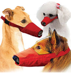 MUZZLES,LONG-SNOUTED 3-QUICK MUZZLE SET FOR DOGS RED