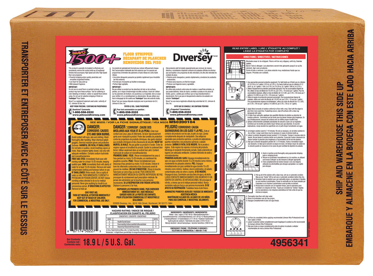 Stripper Floor Bravo Heavy Duty 1Gallon 4 Ea/Cs