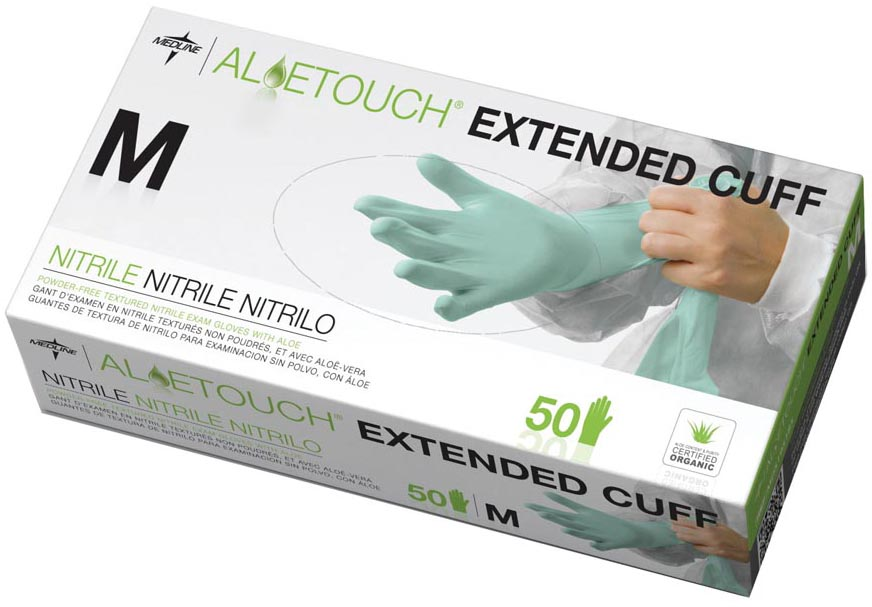 Aloetouch Extended Cuff Nitrile Exam Gloves, Small, 500/Case