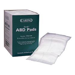 Caring Sterile Abdominal Pads, 5
