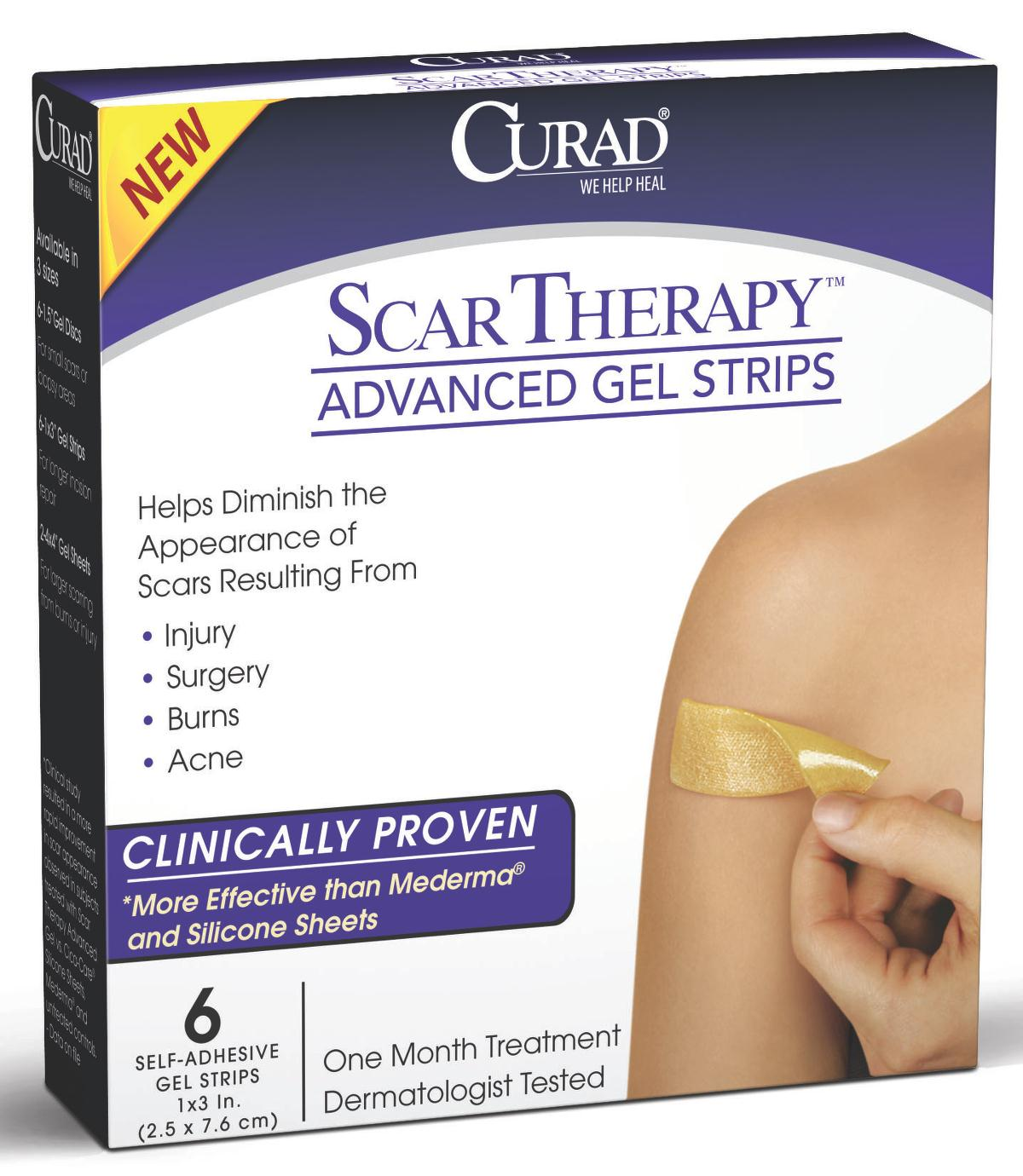 Curad  Advanced Scar Therapy Gel Strips,1