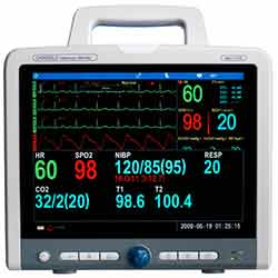 Cardell Max-12 DUO HD Multiparameter Monitor , Cardell Monitor with integrated Printer NIBP/SpO2/5-Lead ECG/Resp/Temp (CO2 Optional with addition of C-Stat5 mainstream probe or LoFLo sidestream module - upgrade any time)