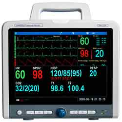 Cardell Max-12 DUO HD-1 Multiparameter Monitor with 12 Inch Screen and integrated printer and Invasive Blood pressure (BP, SPO2, 5 lead ECG, Respirations, Temperature)
