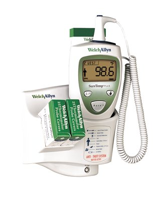 SureTemp® Plus 690 Electronic Thermometer, Wall Mount, 9 ft Cord and Oral Probe with Oral Probe Well, with Rolling Stand and Holder for Spare Probe & Well