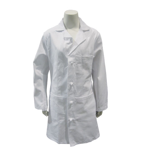 LAB COAT, WHITE, MED LENGTH, COTTON, CLOTH BUTTONS, SIZE 34