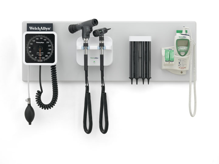 GS 777 Wall Transformer with PanOptic Ophthalmoscope, MacroView Otoscope, Wall Aneroid, KleenSpec Specula Dispenser and SureTemp Plus 690 Thermometer and Wall Board