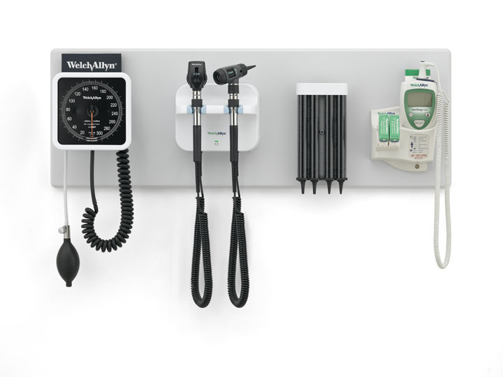 GS 777 Wall Transformer with Coaxial Ophthalmoscope, MacroView Otoscope, Wall Aneroid, KleenSpec Specula Dispenser and Wall Board