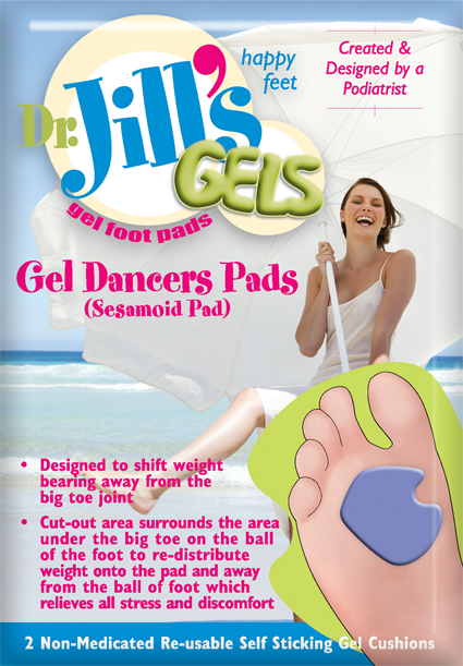 Dr. Jill's Gel Dancer's Pad, Thick, Right, Purple, 2/Box