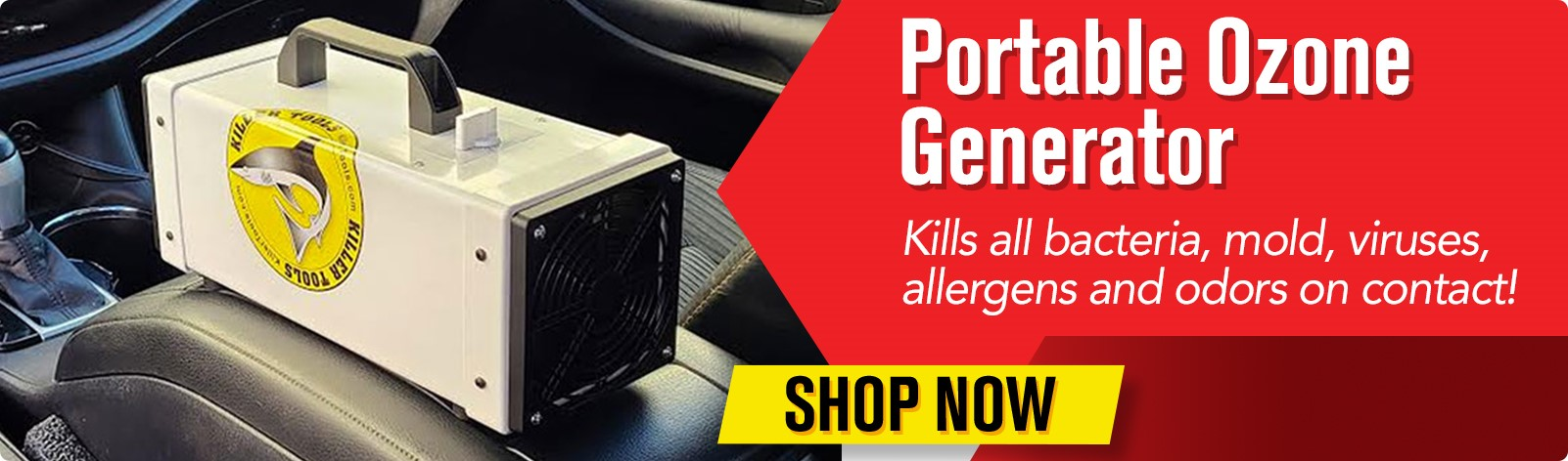 Portable Ozone Generator - kills all bacteria, mold, viruses, allergens and odors on contact!