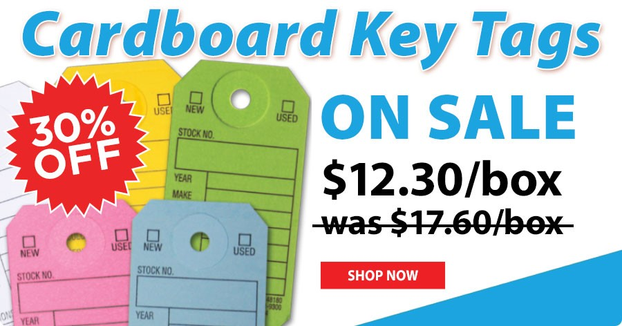 Cardboard Key Tags ON SALE - $12.30/box