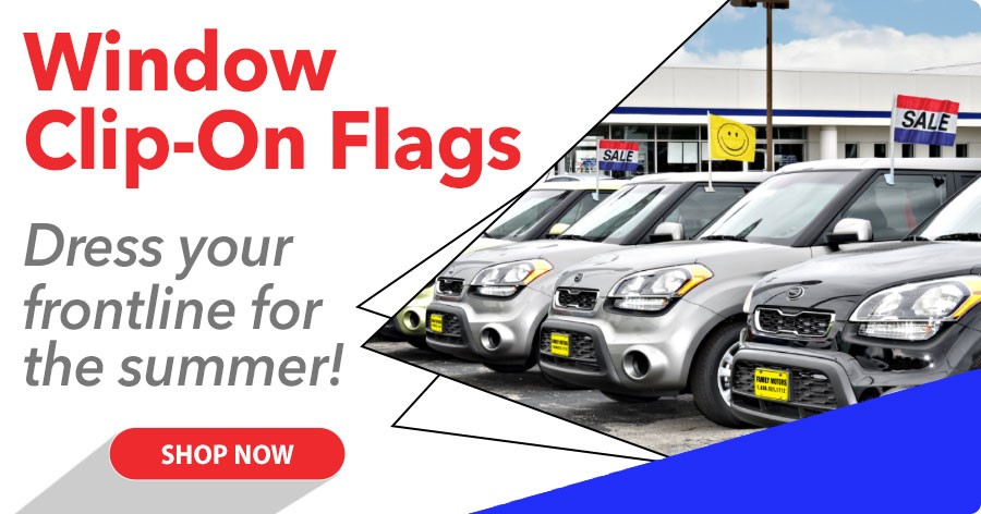 Window Clip On Flags - Dress your lot for the summer!