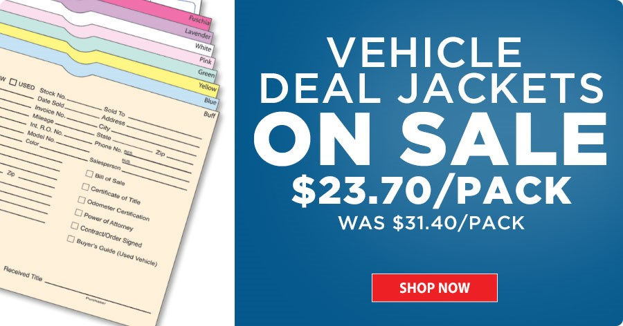 Vehicle Deal Jackets ON SALE - $23.70/pack!