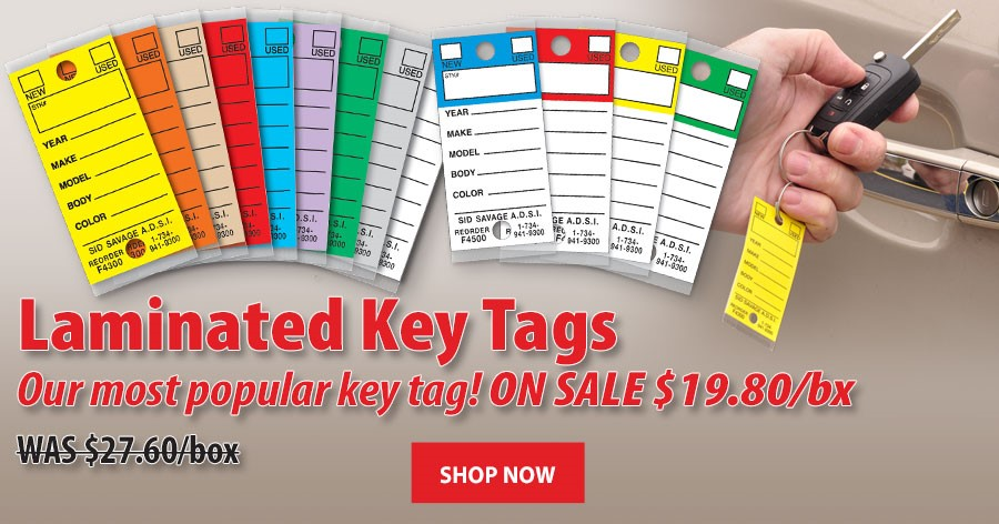 Laminated Key Tags - ON SALE $19.80 per box!