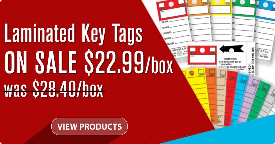 Laminated Key Tags - ON SALE $22.99 per box!