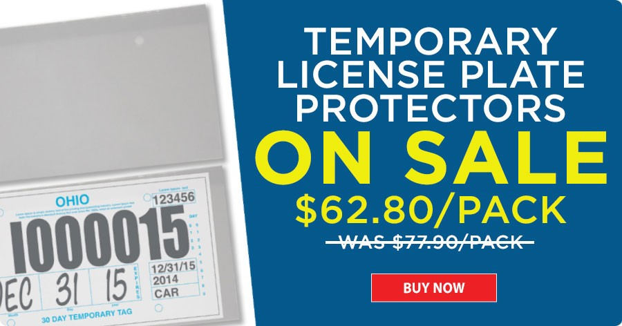 Temporary License Plate Protectors - ON SALE $62.80/pack!