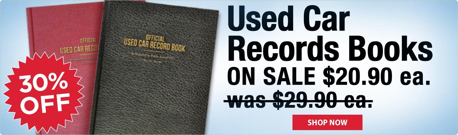 Used Car Record Books ON SALE - $20.90 ea.!