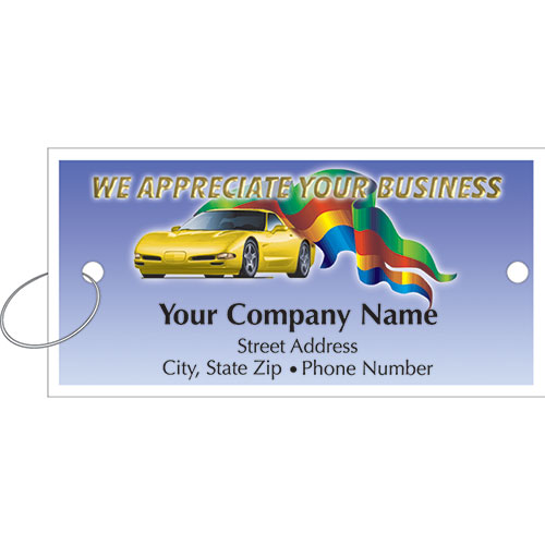 Personalized Full-Color Key Tags - Sports Car & Flag