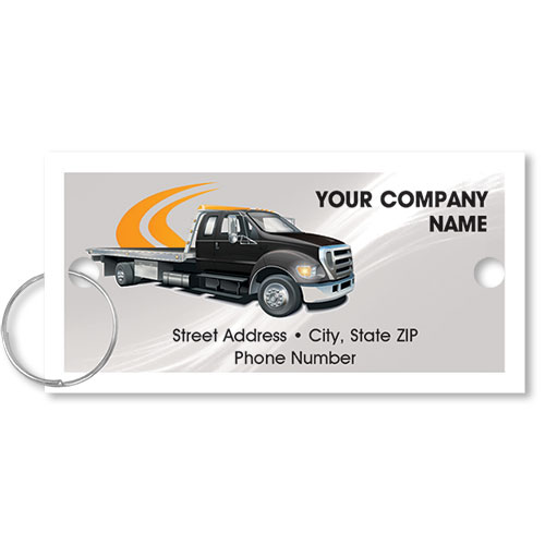 Personalized Full-Color Key Tags - Flatbed Tow Truck II