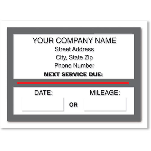 Jumbo Static Cling Service Reminders - Next Service Due