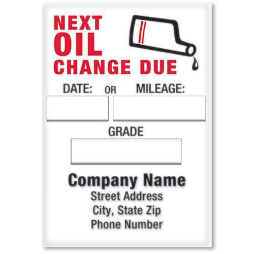 Jumbo Static Cling Oil Change Labels