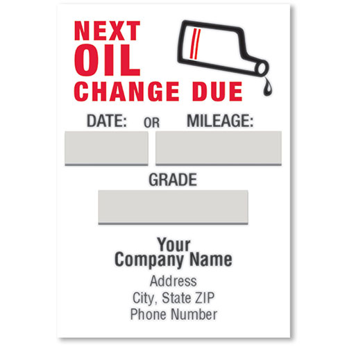 Jumbo Adhesive Oil Change Reminder Stickers