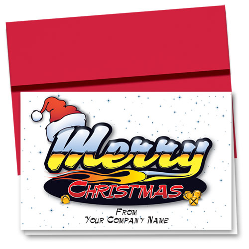 Double Personalized Full Color Holiday Card-Merry Reflection