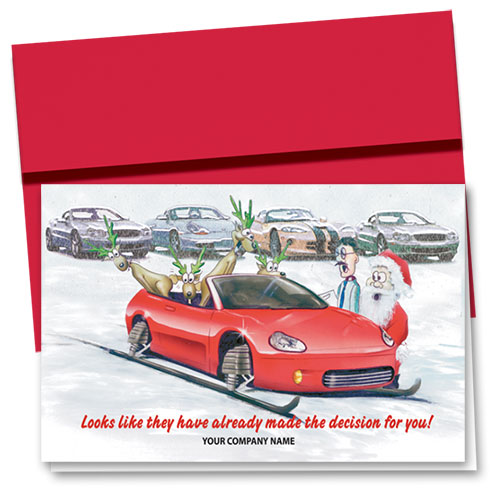 Double Personalized Full Color Holiday Card-Delighted Reindeer