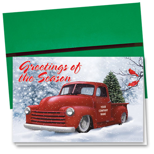 Double Personalized Full Color Holiday Card- Cardinal Classic