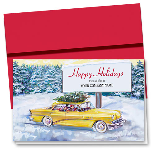 Double Personalized Full Color Holiday Card-Billboard Greetings