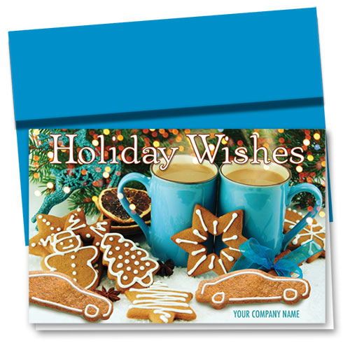 Double Personalized Full Color Holiday Card- Gingerbread Wishes