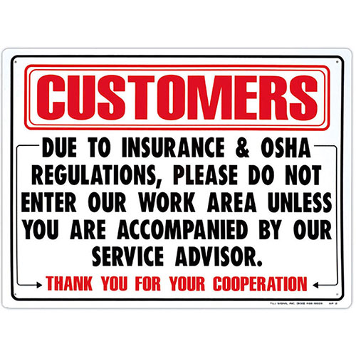 "Office Signs – 24"" x 18"" Customers"