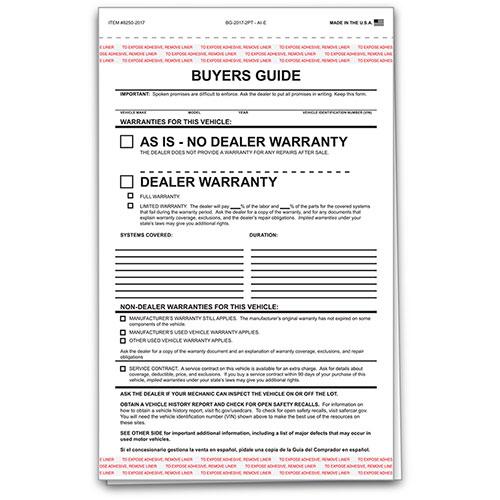 standard car buyers guide 2 part carbonless car dealership forms. Black Bedroom Furniture Sets. Home Design Ideas