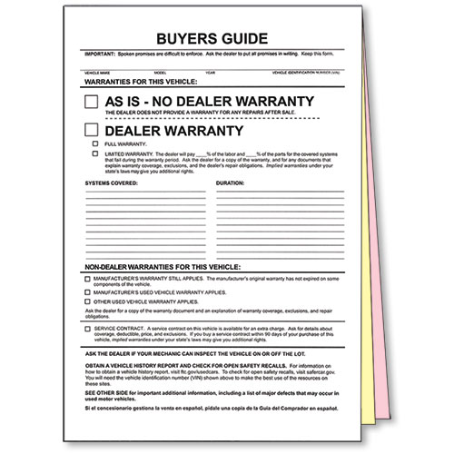 3-Part Carbonless Non-Adhesive Standard Buyers Guides