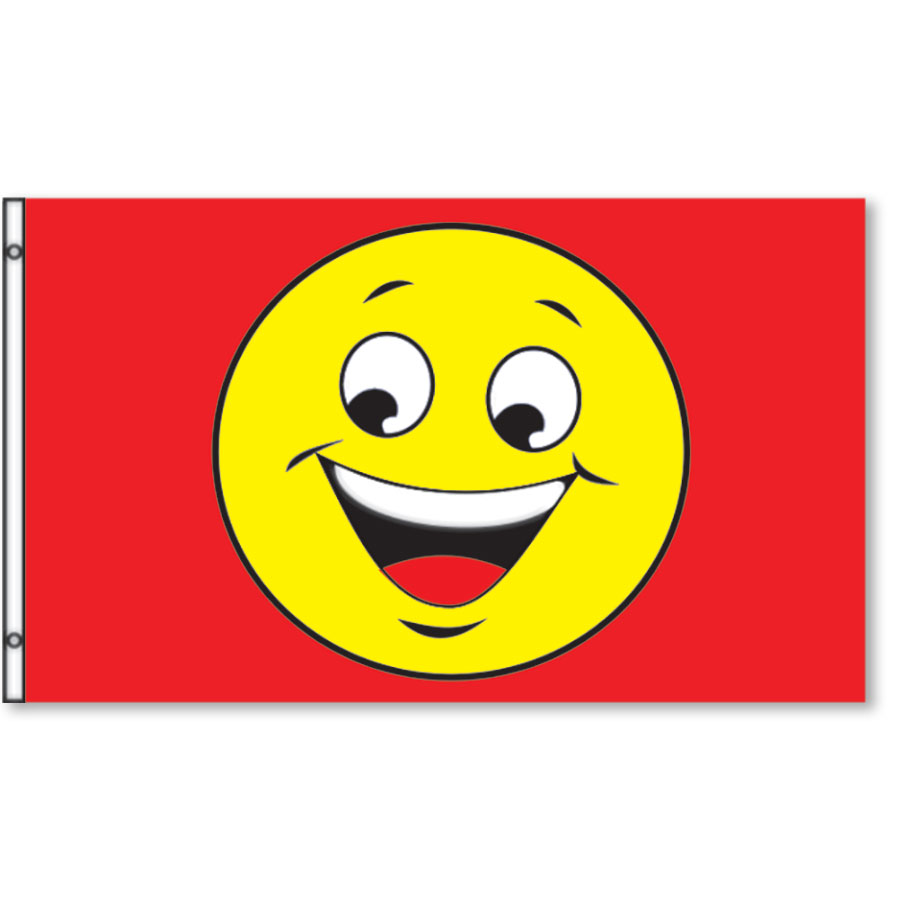 Smiley Rectangle Flags 3' x 5' - Red & Yellow
