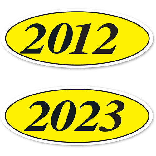 Oval Car Year Stickers - Black & Yellow