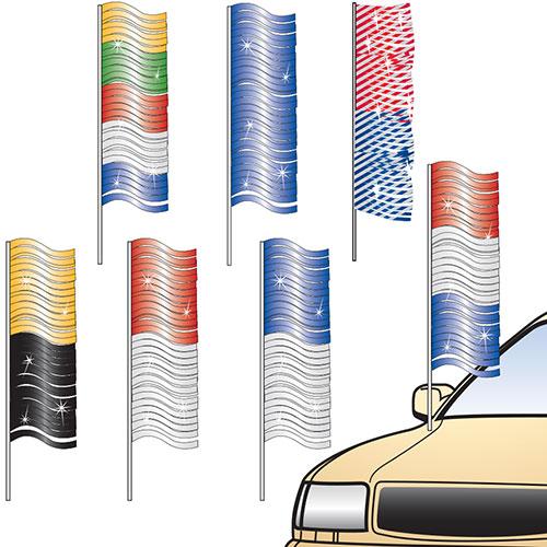 Metallic Fringe Antenna Pennants Car Lot Flags Auto Dealer Supplies