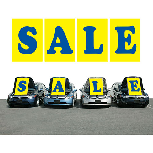 Yellow and Blue SALE Under the Hood Sign