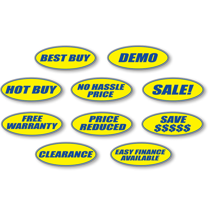Blue and Yellow Oval Slogan Stickers