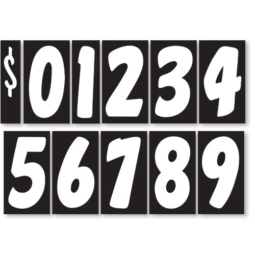 Black and White 7 1/2 inch Peel & Stick Windshield Numbers