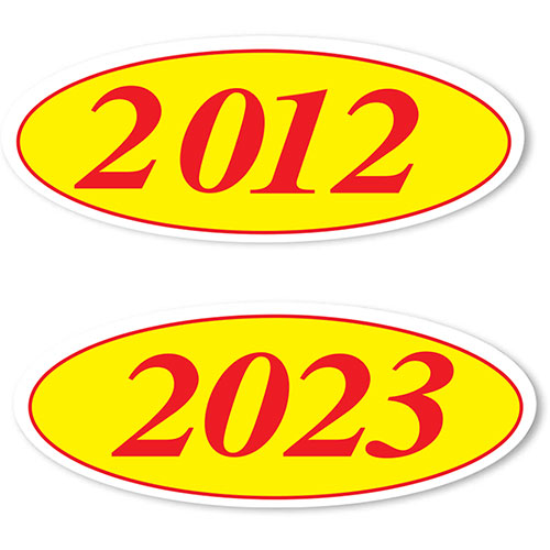 Oval Car Year Stickers - Red & Yellow