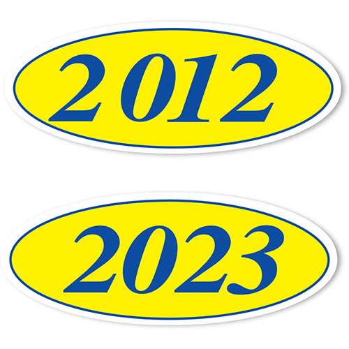 Oval Car Year Stickers - Blue & Yellow