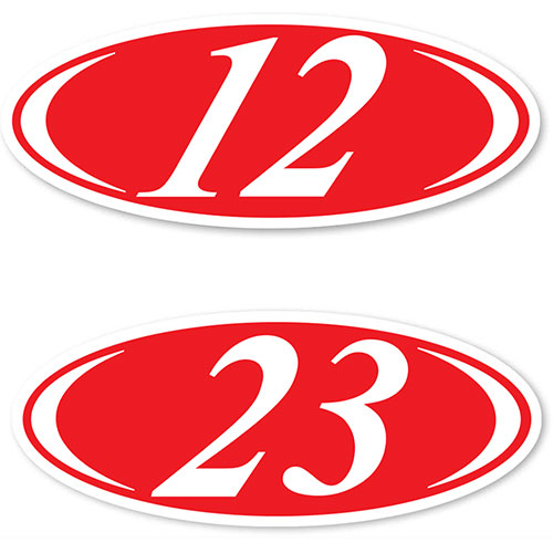2-Digit Oval Car Year Stickers - Red