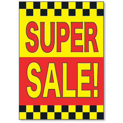Super Sale Under the Hood Display Sign (Yellow-Black-Red)