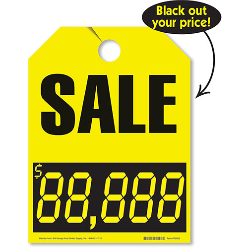 Sale with Numbers Mirror Hang Tags - Fluorescent Yellow