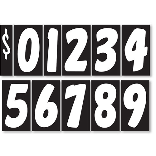 "7.5"" Peel & Stick Windshield Number Kit 7.5"" - Black & White"