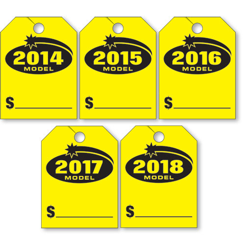 Fluorescent Mirror Tags - Model Year