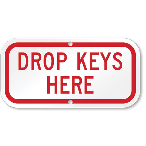 Aluminum Drop Keys Sign